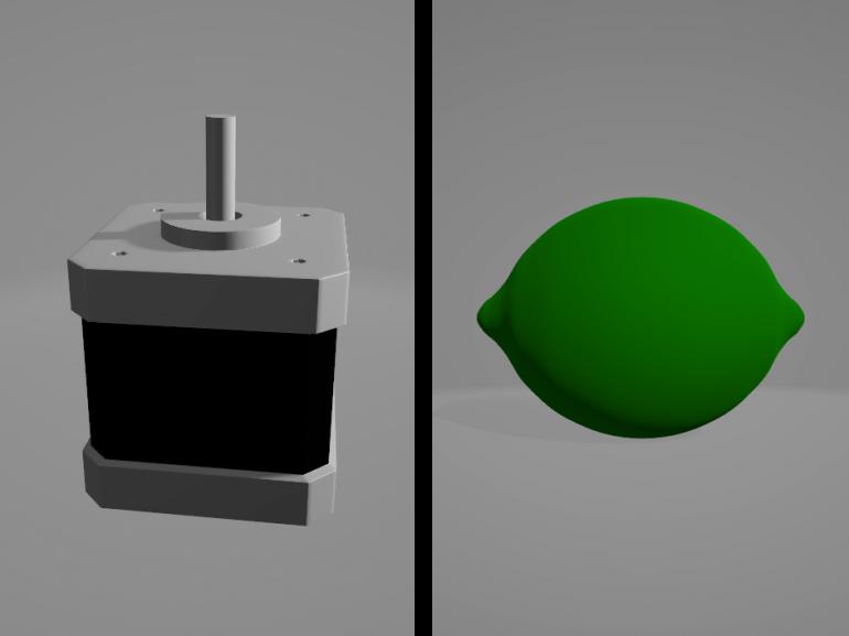Schrittmotor und Limette als 3D Model