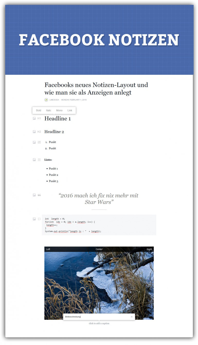 Facebook Notizen: Formatierung