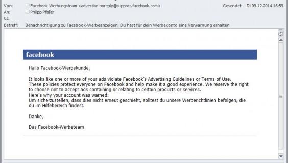 Facebook-Warnung: Du hast für dein Werbekonto eine Verwarnung erhalten.