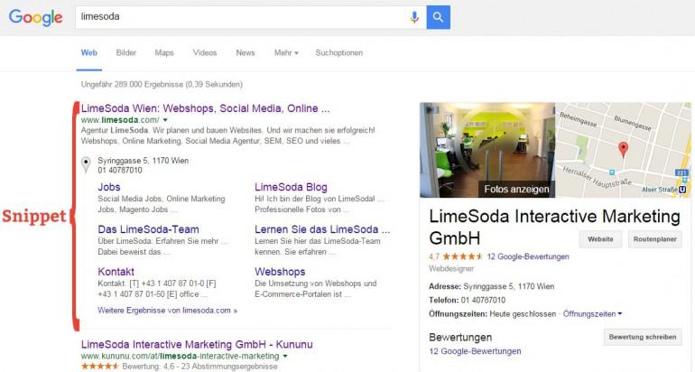 Auszug aus der Suchmaschinenergebnisseite von Google bei der Suche nach LimeSoda.