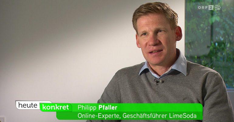 Livebild des ORF-Interviews mit Philipp Pfaller