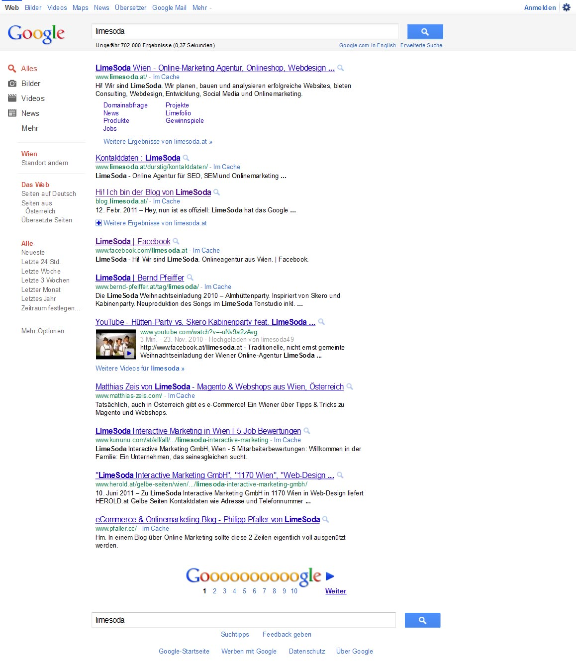 Neues Google-Layout (Juni 2011)