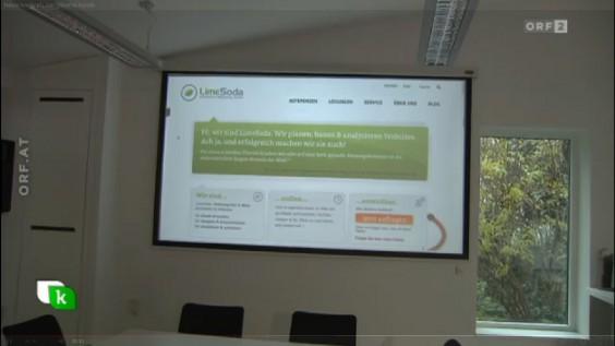 Die LimeLounge mit LimeSoda-Website auf ORF 2