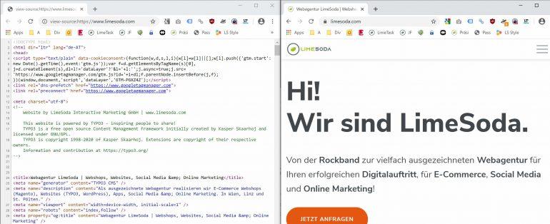 Quelltext und fertige Website