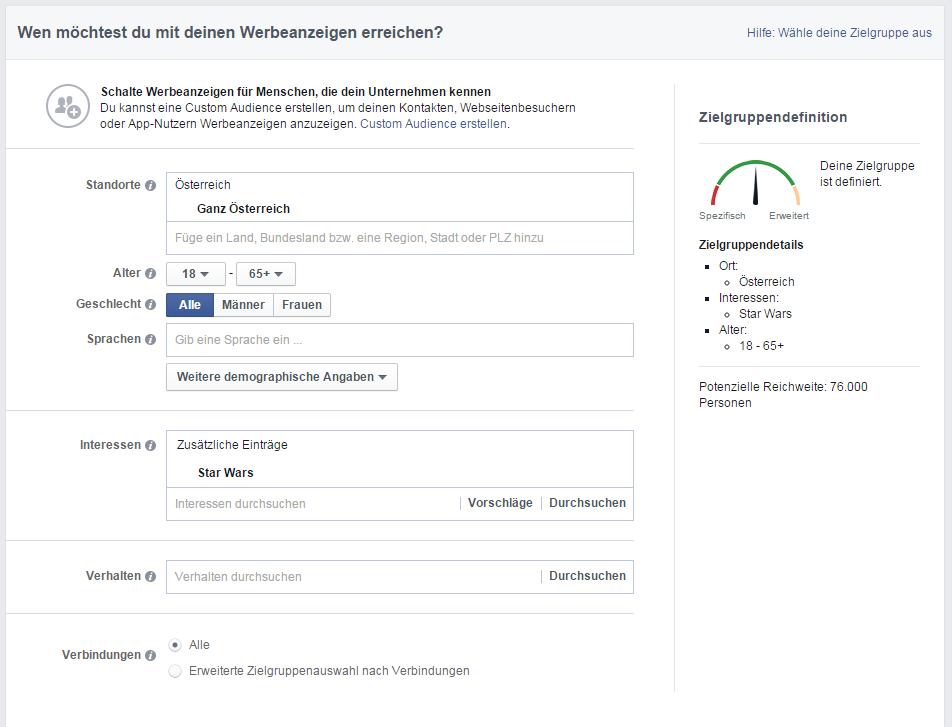 Targeting in Facebook