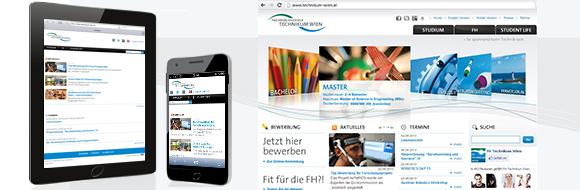Startseite FH Technikum Wien auf verschiedenen Endgeräten