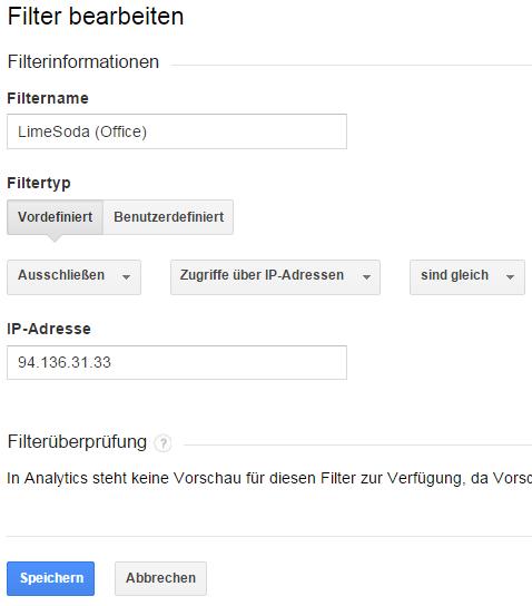 Einrichtung eines Filters für die externe LimeSoda-IP-Adresse