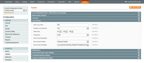 Magento Log Cleaning
