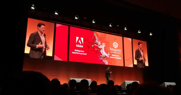 "Magento-CEO Mark Lavelle bei der Keynote der Konferenz ""Magento Live Europe 2018"" in Barcelona"