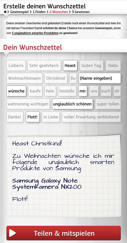 Geschenke-Finder Samsung Österreich, Winter 2011