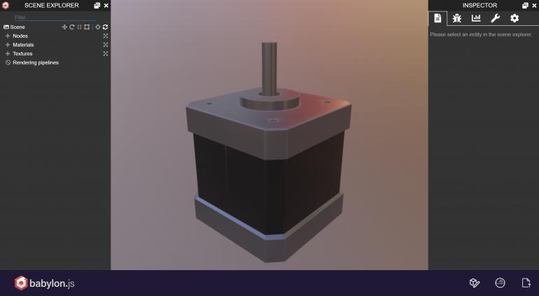 Schrittmotor Model im Sandbox Tool von Babylon.js