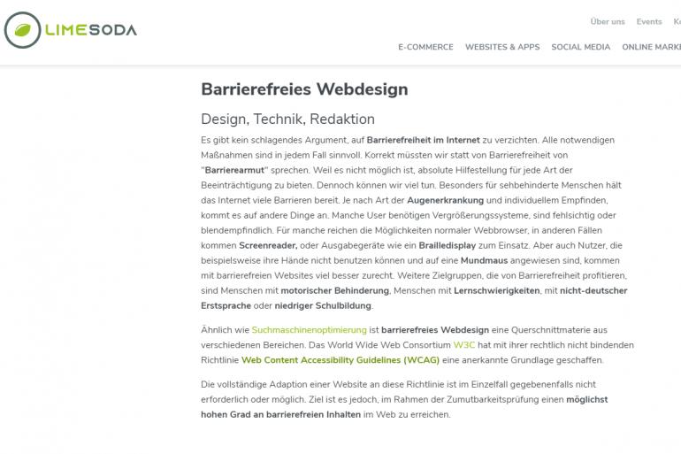 Screenshot der LIMESODA-Website