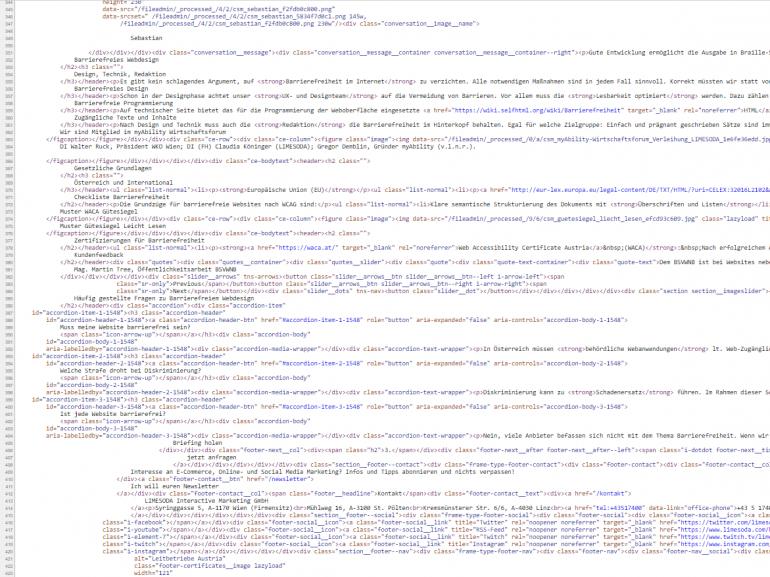 Screenshot des Quellcodes der LIMESODA-Website